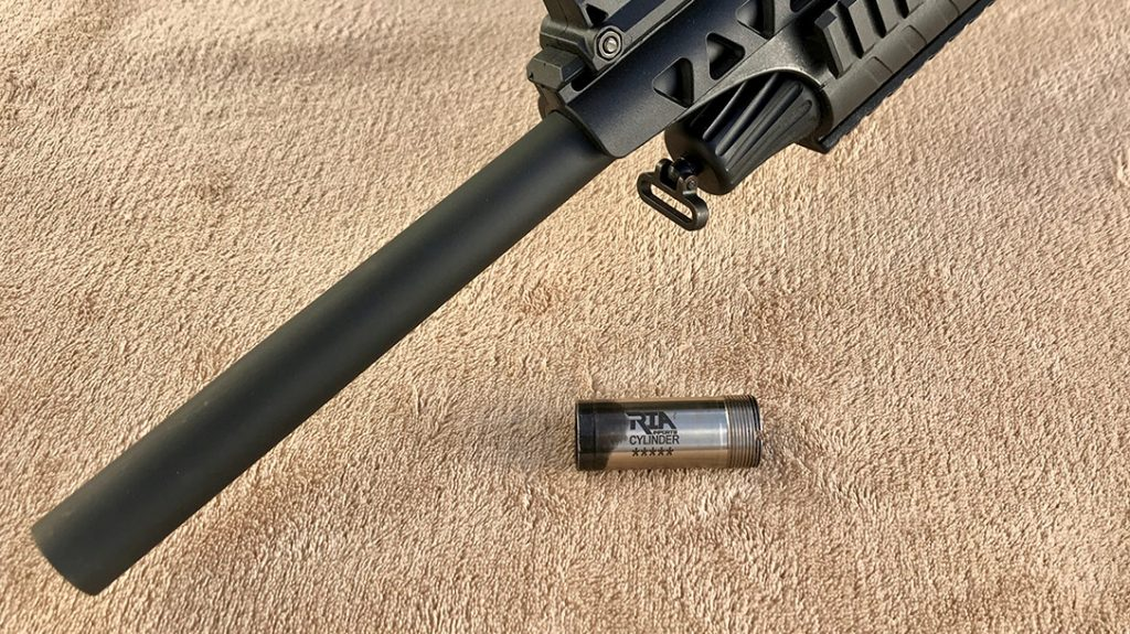 The author replaced the included modified choke, with the cylinder bore choke in his Rock Island Armory VR60.
