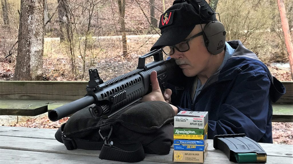 A practical shooting evaluation was performed shooting six slug shells at 25 yards from behind a barricade.