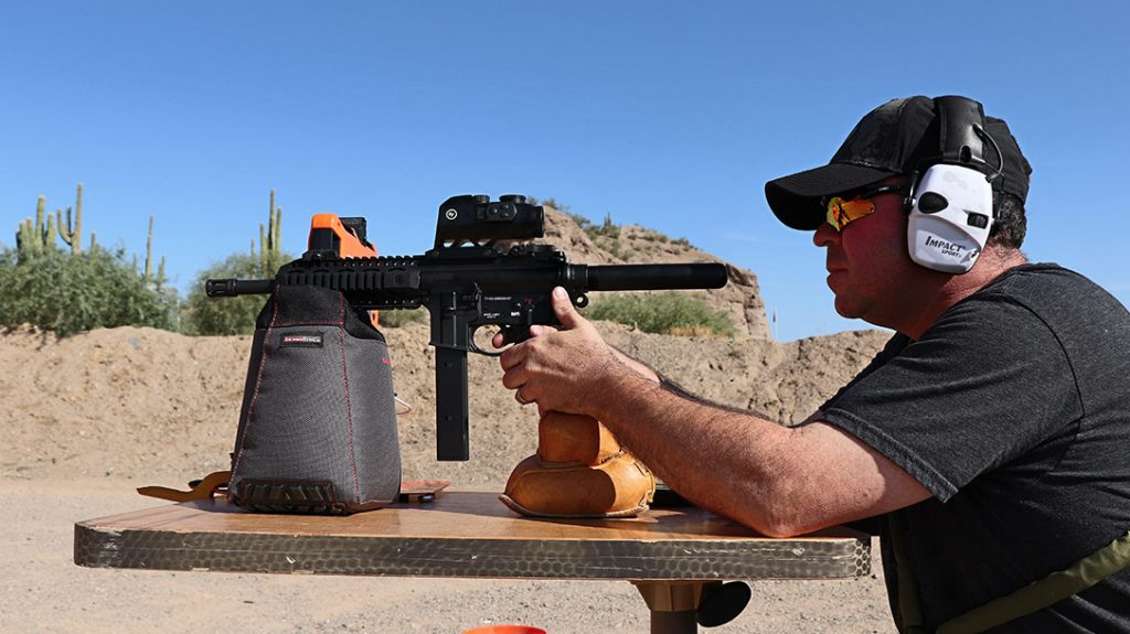 The Allen Company ThermoBlock shooting bag worked perfectly for testing the SAR USA 109T with a 32-round magazine.