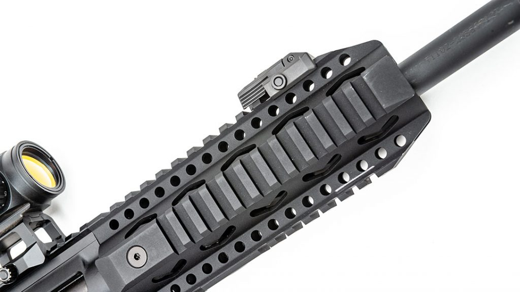The Picatinny-railed forend works well for mounting a light, laser or even a bipod.