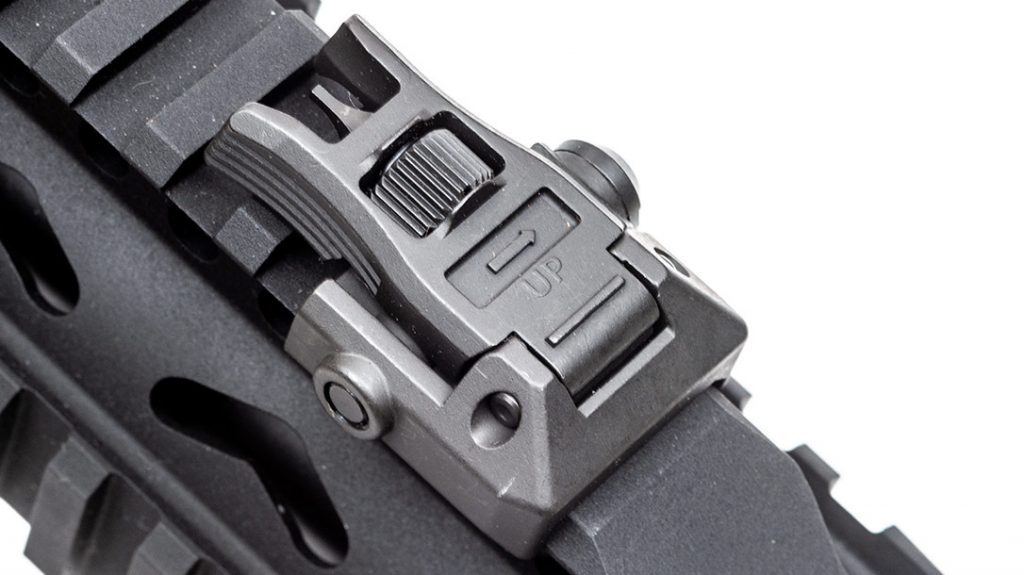 Backup iron sights are always a good idea. They come equipped on the SAR USA 109T.
