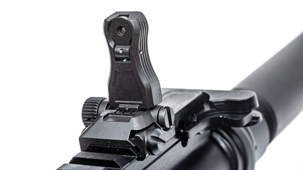 Backup iron sights never need batteries, and Magpul's are tough to break.