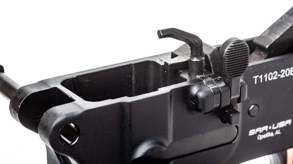 Unlike on most normal AR-15 pistols, the ejector on the SAR USA 109T is part of the lower assembly.