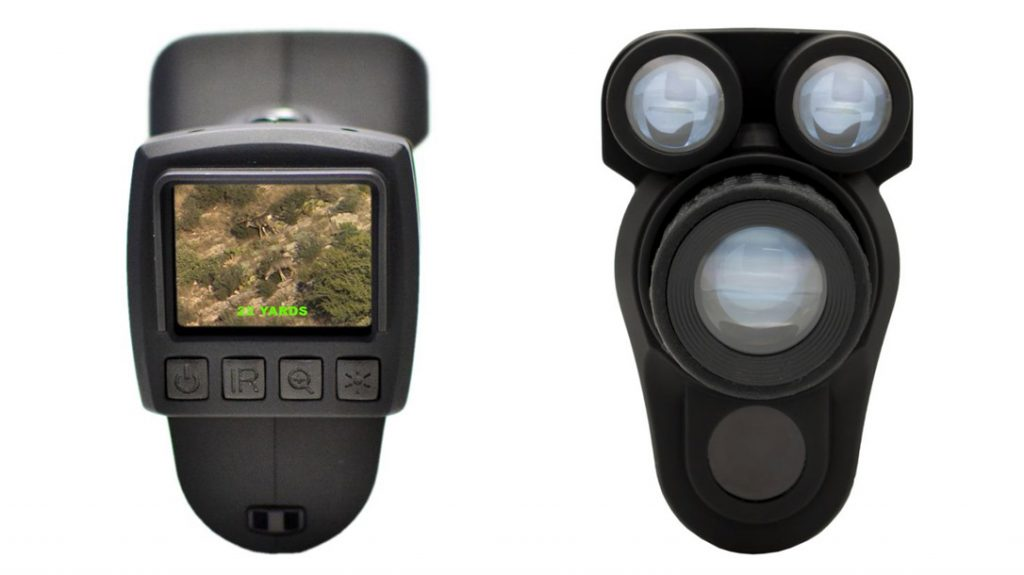 Rear view and front view of the X-Vision Night Vision Rangefinder.