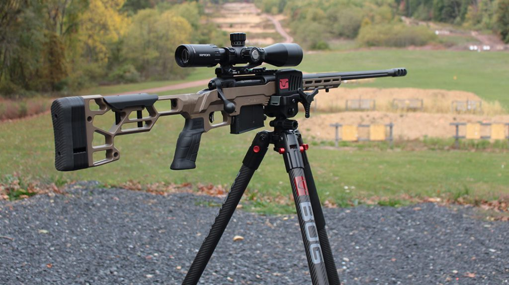 The Death Grip Tripod from BOG held our Savage 110 Precision rifle quite securely throughout the entire test. It was invaluable for shooting on uneven terrain.